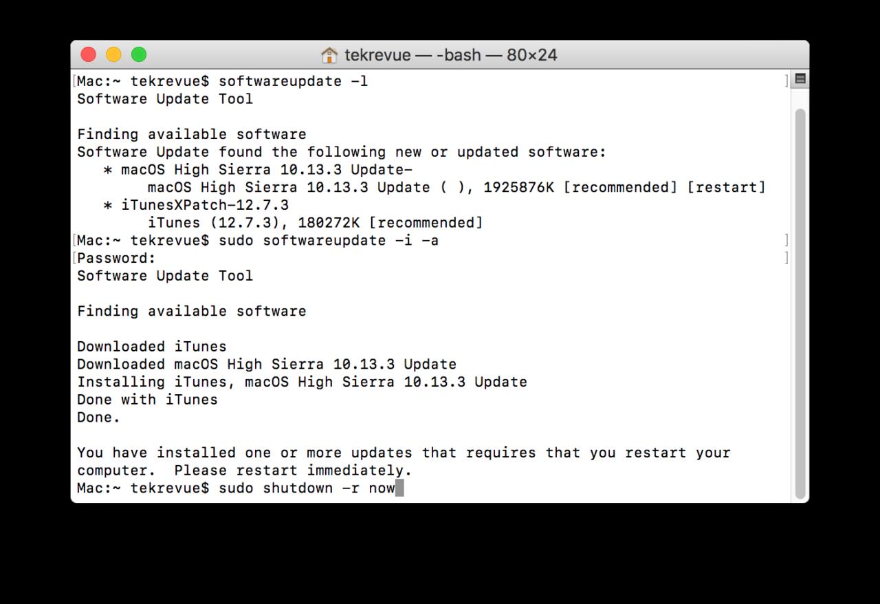 Restart command mac terminal commands