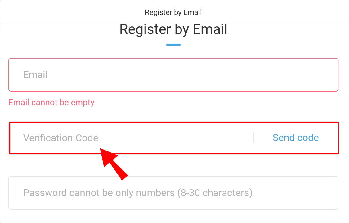 Address com used be to register email cannot Set up